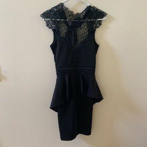 Windsor Black Lace Dress with Peplum Size S